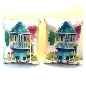 Beach House Watercolor Pair of PILLOWS